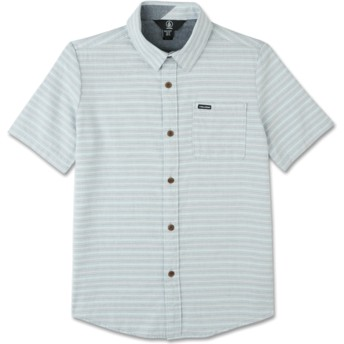 Volcom Youth Wrecked Indigo Eastport Chambray Grey Short Sleeve Shirt