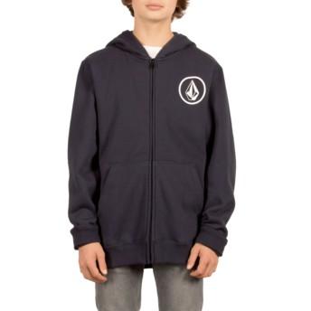 Volcom Youth Navy Stone Navy Blue Zip Through Hoodie Sweatshirt