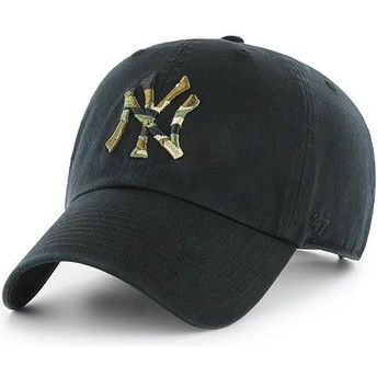 47 Brand Curved Brim Camouflage Logo New York Yankees MLB Clean Up Camfill Black Cap