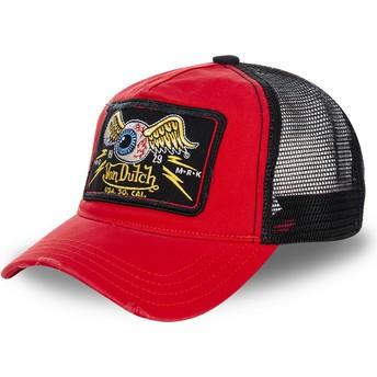 Von Dutch TRUCK05 Red and Black Trucker Hat