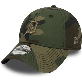 New Era Curved Brim Brown Logo 9FORTY Essential de Detroit Tigers MLB Camouflage Adjustable Cap