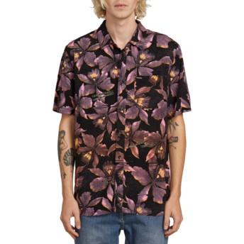 Volcom Neon Pink Resorto Vallarta Black Short Sleeve Floral Shirt