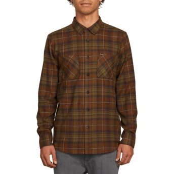 Volcom Vineyard Green Lumberg Flannel Green Long Sleeve Check Shirt