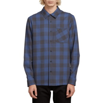 Volcom Indigo Joneze Navy Blue Long Sleeve Check Shirt