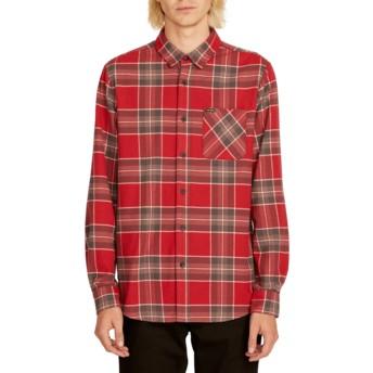 Volcom Burgundy Caden Plaid Red Long Sleeve Check Shirt