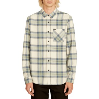 Volcom Off White Caden Plaid White Long Sleeve Check Shirt