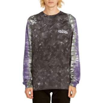Volcom Black Computer Crash Black and Purple Long Sleeve T-Shirt