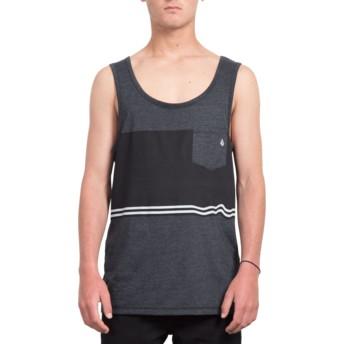 Volcom Three Heather Black Quarter Black Sleeveless T-Shirt