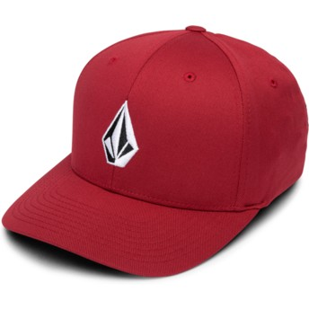 Volcom Curved Brim Burgundy Full Stone Xfit Red Fitted Cap