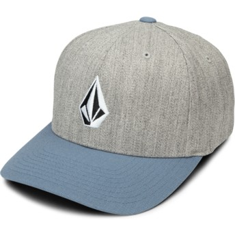 Volcom Curved Brim Vintage Blue Full Stone Xfit Grey Fitted Cap with Blue Visor