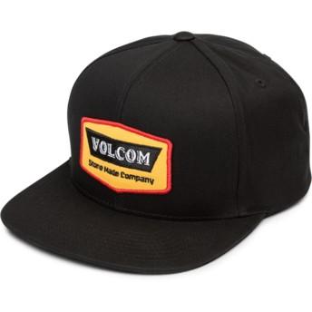 Volcom Flat Brim Yellow Cresticle Black Snapback Cap