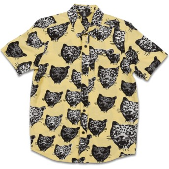 Volcom Youth Lime Ozzie Cat Yellow Short Sleeve Shirt