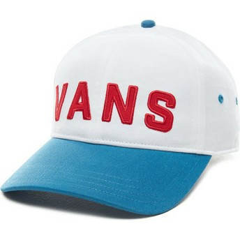 Vans Curved Brim Dugout White Adjustable Cap with Blue Visor