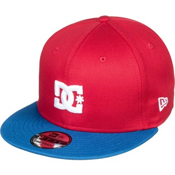 DC Shoes Flat Brim Empire Fielder Red Snapback Cap with Blue Visor