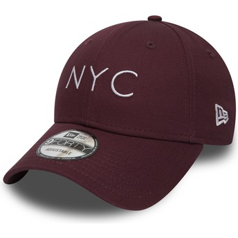 New Era Curved Brim 9FORTY Essential NYC Maroon Adjustable Cap