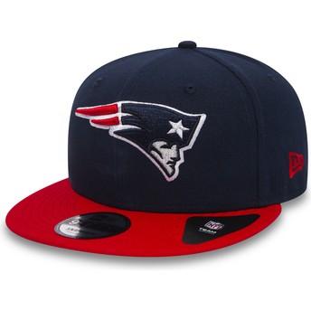 New Era Flat Brim 9FIFTY Team New England Patriots NFL Navy Blue Snapback Cap with Red Visor