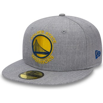 New Era Flat Brim 59FIFTY Heather Golden State Warriors NBA Grey Fitted Cap