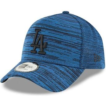 New Era Curved Brim Black Logo 9FORTY A Frame Engineered Fit Los Angeles Dodgers MLB Blue Adjustable Cap