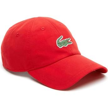 Lacoste Curved Brim Croc Microfibre Red Adjustable Cap