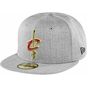 New Era Flat Brim 59FIFTY Heather Cleveland Cavaliers NBA Grey Fitted Cap