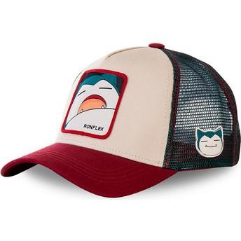 Capslab Snorlax SNO2 Pokémon Beige, Red and Blue Trucker Hat