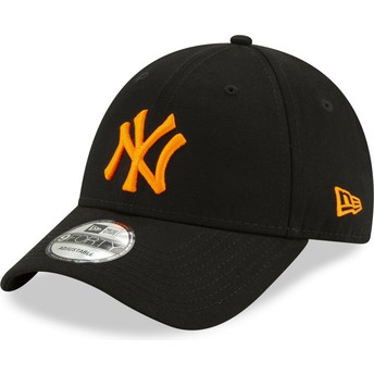 New Era Curved Brim Orange Logo 9FORTY League Essential Neon New York Yankees MLB Black Adjustable Cap