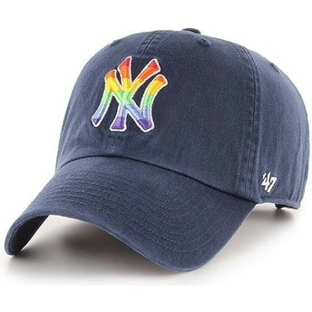 47 Brand Curved Brim New York Yankees MLB Clean Up Pride Navy Blue Adjustable Cap