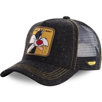 Capslab Sylvester LOOMIN1 Looney Tunes Black Trucker Hat