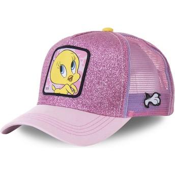 Capslab Tweety TWE4 Looney Tunes Pink Glitter Trucker Hat
