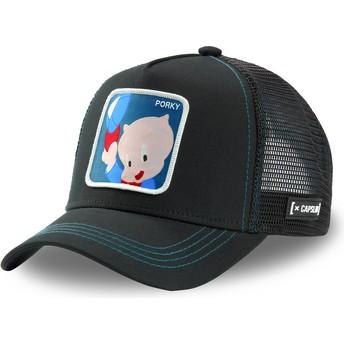 Capslab Porky Pig POR2 Looney Tunes Black Trucker Hat