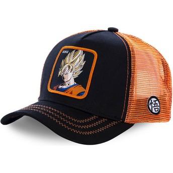 Capslab Youth Son Goku Super Saiyan KID_GO3 Dragon Ball Black and Orange Trucker Hat