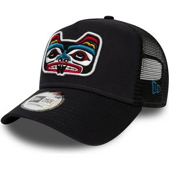 New Era Bear Tattoo Pack A Frame Navy Blue Trucker Hat