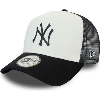 New Era Team Colour Block A Frame New York Yankees MLB White and Navy Blue Trucker Hat