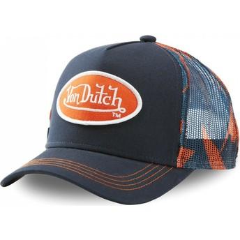Von Dutch AOP Navy Blue and Orange Trucker Hat
