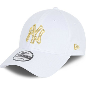 New Era Curved Brim 9FORTY Metallic Logo New York Yankees MLB White Adjustable Cap