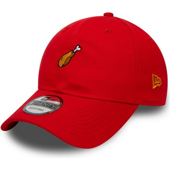 New Era Curved Brim 9TWENTY Food Chicken Drumstick Red Adjustable Cap
