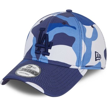 New Era Curved Brim Blue Logo 9FORTY Los Angeles Dodgers MLB Camouflage and Blue Adjustable Cap