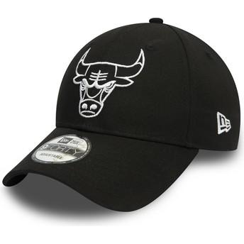 New Era Curved Brim White Logo 9FORTY League Essential Chicago Bulls NBA Black Adjustable Cap