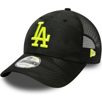 New Era Curved Brim Yellow Logo 9FORTY Home Field Los Angeles Dodgers MLB Camouflage and Black Adjustable Cap