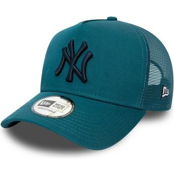 New Era Black Logo League Essential A Frame New York Yankees MLB Blue Trucker Hat