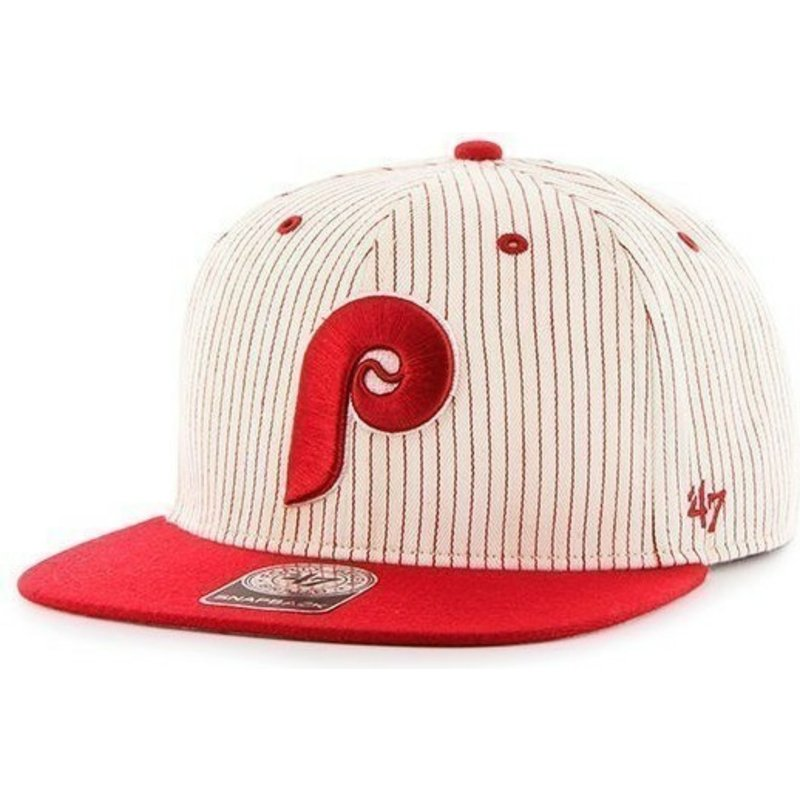 47-brand-flat-brim-philadelphia-phillies-mlb-grey-with-red-stripes-snapback-cap