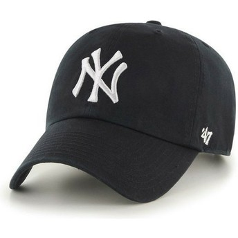 47 Brand Curved Brim New York Yankees MLB Clean Up Black Cap