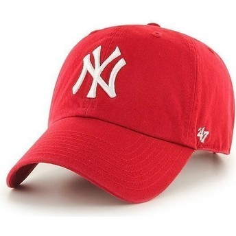 47 Brand Curved Brim New York Yankees MLB Clean Up Red Cap