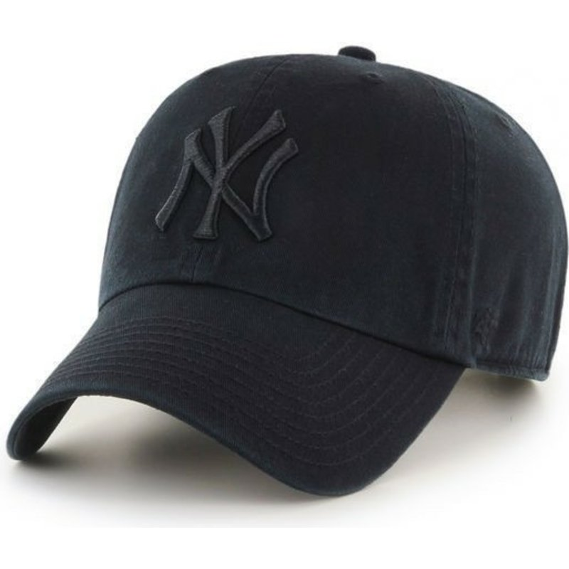 47-brand-curved-brim-dark-black-black-logo-new-york-yankees-mlb-clean-up-black-cap