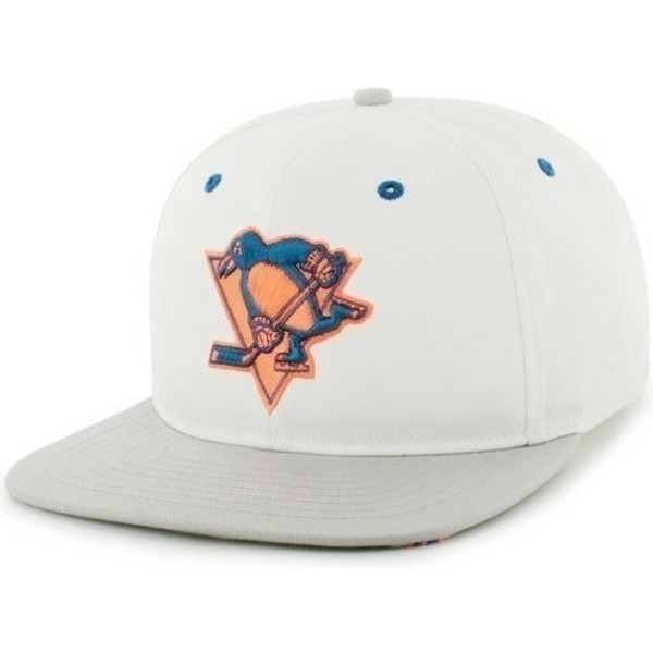 47-brand-flat-brim-pittsburgh-penguins-nhl-white-snapback-cap
