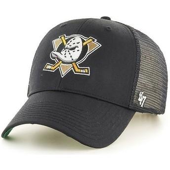 47 Brand Large Front Logo NHL Anaheim Ducks Black Trucker Hat