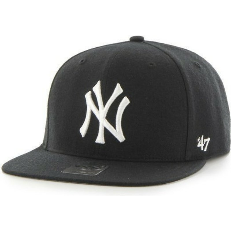 47-brand-flat-brim-mlb-new-york-yankees-smooth-black-snapback-cap