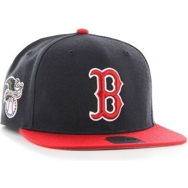 47-brand-flat-brim-mlb-boston-red-sox-navy-blue-snapback-cap