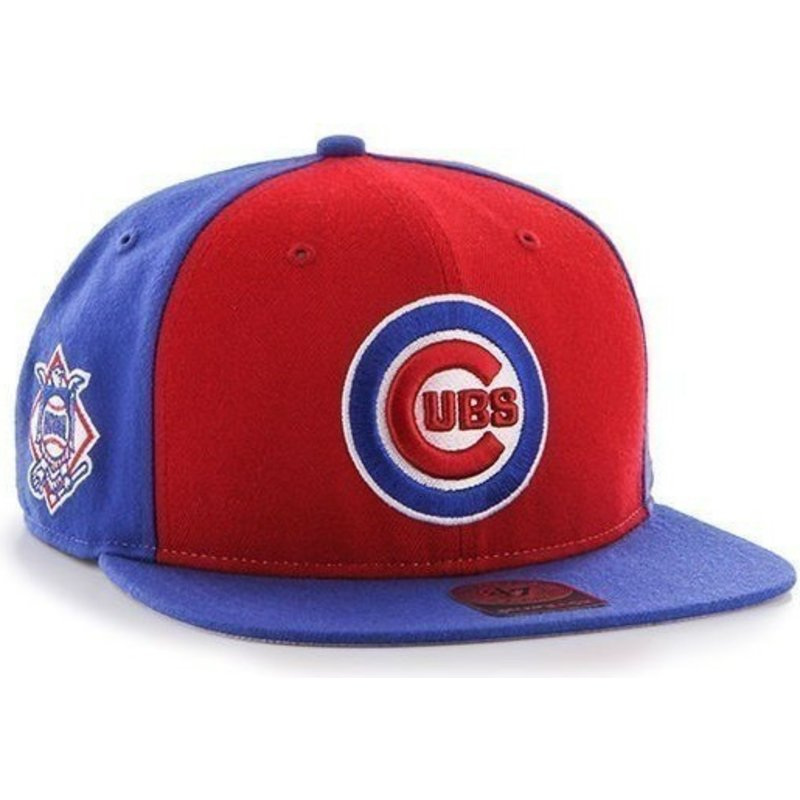 47-brand-flat-brim-side-logo-mlb-chicago-cubs-smooth-blue-snapback-cap