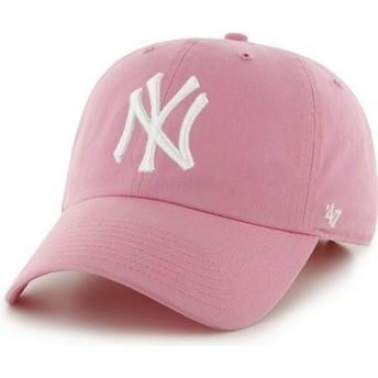 47 Brand Curved Brim Large Front Logo MLB New York Yankees Pink Cap